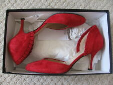 Hobbs Black Vita Frill Red Suede Shoes Size 37.5