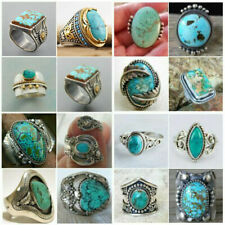 Wholesale Vintage Indian Handmade Silver Turquoise Ring Women Jewelry Size 6-13