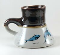 Vtg 1982 Bearly Surviving 2-Tone Porcelain Coffee Mug Marlin Shark Barracuda
