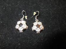 Dangle Earrings Rhinestone Crystal MLS Sport Soccer Ball Black White Shiny Bling