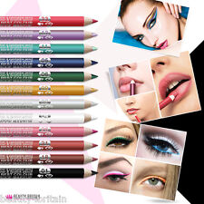 12 x EYELINER LIPLINER 2in1 EYE PENCIL LIPSTICK GLITTER WATERPROOF JOB LOT UK