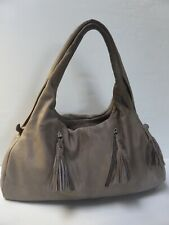 Grand sac besace cuir gris taupe JEAN LOUIS FOURES leather bag