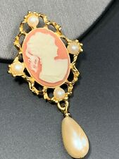 Vintage Pin Brooch Signed Sarah Coventry Imitation Dangle  Pearl Cameo Pendant