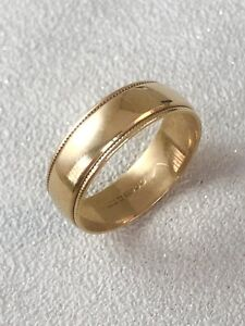 Vintage 9ct Yellow Gold 7mm Milgrain Wedding Band Ring Size W Item ~ A8537
