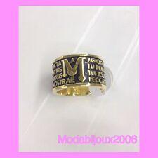 Anello unisex acciaio con preghiera M in acciaio dorata e nero 19 mm diametro