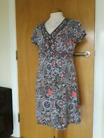 Ladies MANTARAY Dress Size 14 Grey Floral Stretch Jersey Smart Casual Day Party