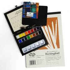 Sennelier Watercolour Wooden Box 16 Half Pan Set & Curtisward Bockingford Pad A4
