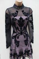 Size 14 UK Karen Millen Velvet Tulle Embroidered Applique Victorian Gothic Dress