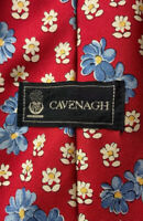Vintage CAVENAGH Made In England Mens Silk Tie Red W Daisies Floral 59inches