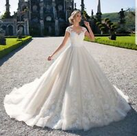 Wedding Dresses White Ivory V Neck Bridal Ball Gowns Plus Size 0 4 6 8 10 12 14