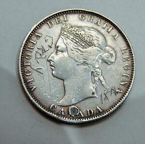Canada - 1871 - Silver 25 Cents - KM#5  - Graffiti & Plugged Hole