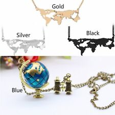 Globe Necklace Planet Earth World Map Art Pendant Necklace 4tyles for Choose