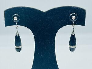 Antique Art Deco 14k White Gold Diamond & Black Onyx Dangle Drop Earrings