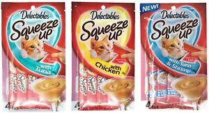 Delectables Squeeze Up Hartz Cat Treats Variety Pack Bundle of 3 Flavors (3 Pck)