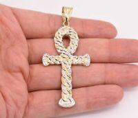 "3"" Huge Ankh Cross Jesus Pendant Charm Diamond Cut Real 10K Yellow White Gold"