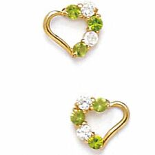 Women/Children Stylish 14K YG Peridot August Birthstone Heart Shape Stud Earring