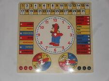 jouet éducatif bois pour apprendre heure, jour, mois et saison (taille:28x28cm)