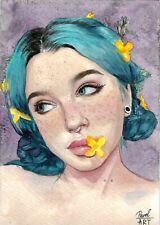 original drawing 15x21 сm 51MP art female portrait watercolor 2020