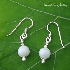 Drop Earrings 10.2 CTW White Jadeite Jade 925 Sterling Sterling Silver 8mm round