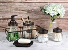6PCS Premium Mason Jar Farmhouse Bathroom Accessories Set Rustic Decor Organizer