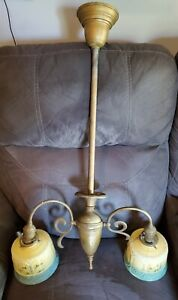 ANTIQUE Ornate Victorian EARLY ELECTRIC 2 Arm Hanging Lamp Chandelier W/Shades
