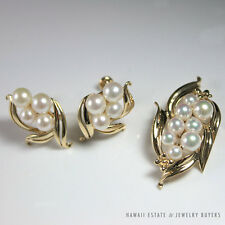 MIKIMOTO AAA PEARL & 14K GOLD FLOWER SCREW BACK EARRINGS AND PENDANT SET