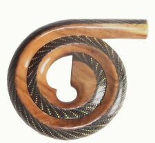 More details for wooden spiral didgeridoo tuned c, d | from bali suar wood | woodwind instrument