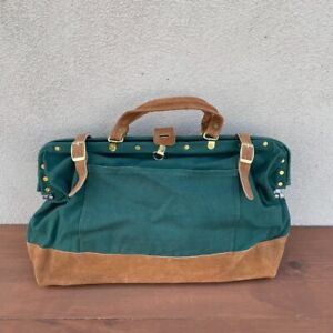 Vintage Green Canvas and Suede Large Tool Bag