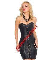 Leather Corset Dress 26 Steel Bones Double Boned Waist Training DOM XS-4XL