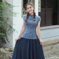 Summer Womens Blouse Chinese Style Cotton Linen Shirts Cheongsam T-Shirts Tops