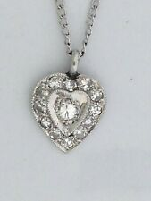 Heart Pendant with Natural Diamond Solid 14kt White Gold