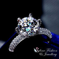 925 Sterling Silver SONA Diamond Brilliant 4.0 Ct Side Stones Engagement Ring