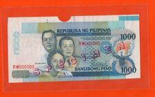 PHILIPPINES 1000P Specimen Banknote 186s2 Signature 15 16 Plate Test Tab Errors