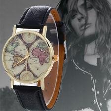 Fashion Women Men Classic Neutral Map Graffiti Leather Quartz Wrist Watch Black