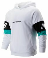 New Balance Men's NB Athletics Classic Hoodie White with Black & Blue Size S