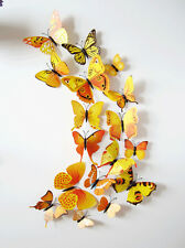 Yellow 12pcs 3D Butterfly Sticker Art Design Decals Wall Stickers Home Deco