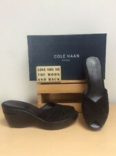 Cole Haan Nike Air (Kierstin )Black Suede Leather Platform Wedge Sandals 10.5AA
