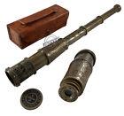 Antique Telescope Handheld Spyglass Leather Case Vintage Pirate Sailor Gift Item