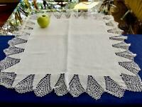 "Antique Fine Linen Wide Irish Crochet Trim Table Topper 26""sq Pillow Cover Sham"