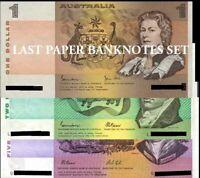 Australian aU-Unc Last Paper Signatures SET $1+$2+$5 Banknotes + Protective Page