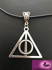 Harry Potter Deathly Hallows Silver Pendant With Black Faux Leather Necklace 13