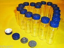 50 x 10ml Clear Glass Vials with Stopper & Blue Aluminum Seals,100% New & Empty
