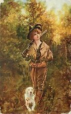 1907 Vintage Postcard; Pretty Girl Hunter w Gun & Dog, On the Trail, Posted