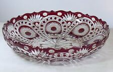 Huge D43 cm Crystal TRAY /DISH, RUBY RED Cut to clear Overlay RUSSIA New