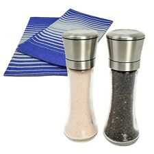 Stainless Steel Salt and Pepper Grinder Set | 2 Tall Shakers + 2 Kitchen Towels