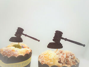 Gavel Cupcake Toppers,Law Cupcake Toppers,Law School Graduation Case Closed