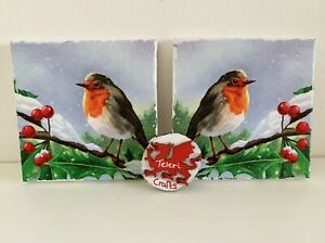 Pack 2 Robin decoupage small canvases. Mothers day gift for nan, gran?