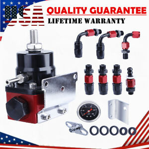 Red Universal Adjustable Fuel Pressure Regulator w/ Oil 100psi Guage Kit AN6 End
