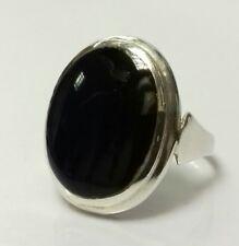 "VINTAGE Sterling Silver Black Onyx Chunky Statement Ring UK size ""O"" 4.6g"