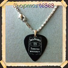 "Jack Daniels (black) Guitar Pick WITH 16.5"" SILVER PLATED SNAKE NECKLACE NEW#2"